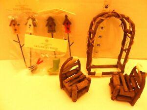 Dollhouse FAIRY TWIGS GARDEN Furniture Arbor, Chairs, Bird Houses & Garden Tools