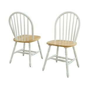 Autumn Lane Windsor Solid Wood Dining Chairs, White and Oak (Set of 2)