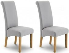 Grey Linen / Oak Scroll back Dining Chairs H107cm (Price for 2 Chairs) RICO