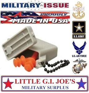 NEW MEDIUM Military Issue Ear Plugs W/ Acu Storage Case Tactical Earplugs 27db