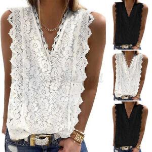 ZANZEA 8-24 Women Sleeveless Vest Tank Top Tee T Shirt Cami Floral Lace Blouse