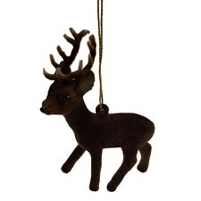Ino Schaller Flocked Reindeer German Christmas Tree Ornament Animal Deer