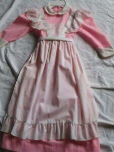 Vintage Child Girl Maxi Dress Eyelet Ruffle Pinafore Apron Pink Montgomery Wards