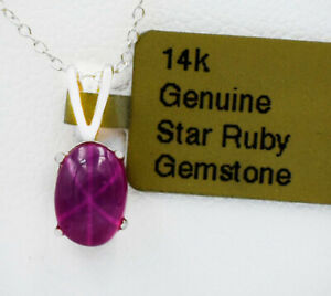 GENUINE 1.44 Cts STAR RUBY PENDANT 14k WHITE GOLD * Free Appraisal Service *