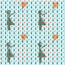 BANKSY BALLOON GIRL HIGH QUALITY FOUR PANEL BLOTTER ART IN BLUE - CLEARANCE OOP