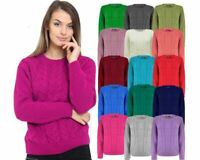 Ladies Women Cable Knit Long Sleeve Crew Neck Knitted Jumper Baggy Sweater Top