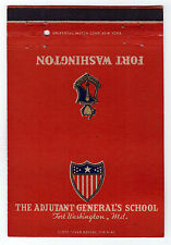 ADJUTANT GENERAL'S SCHOOL Fort Washington Maryland MD MATCHBOOK Cover MILITARY