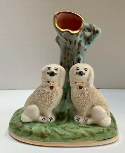 Antique Staffordshire Confetti Poodle Dog Spill Vase figural Group