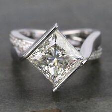 2.5 ct PRINCESS Cut Diamond Engagement Wedding Designer Ring 925 Sterling Silver