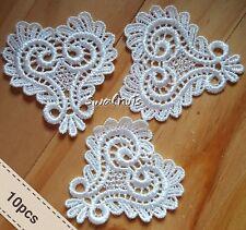 10pcs Vintage White Guipure Venise Embroidered Lace Hearts Applique Motif Trim