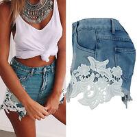 Fashion Summer Women High Waist Tassel Hole Shorts Jeans Denim Lace Short Pants