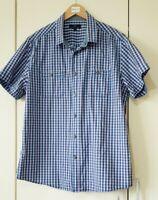 Matalan Men's Shirt Size Large Blue Check Print ShortSleeve Button Cotton Summer