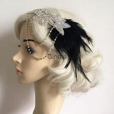 Gatsby Wedding Headband Vintage Feather Headpiece Diamante Chain Hairband