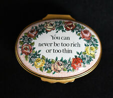 Halcyon Days You Can Never Be Too Rich Or Too Thin Enamel Trinket Pill Box