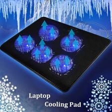 """5 Fans Black LED USB Port Cooling Stand Pad Cooler For 12""""-17"""" Laptop  !"""