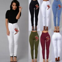High Waist Rose Embroidery Stretch Skinny Pencil Pants Trousers Leggings NG09