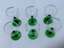 A Set Of 6 Coupette Vintage Glasses 1930s Green Stems And Clear Glass Bowls