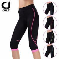 CHEJI Women's Padded Bike Shorts Knickers Coolmax 3/4 Cycling Pants Tights