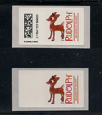 COMPUTER VENDED POSTAGE Rudolph Reindeer CVP92, Normal & Copy of Blank Label