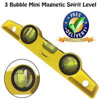 NEW Aluminium 3 Bubble Mini Magnetic Spirit Level Torpedo Gradienter YELLOW