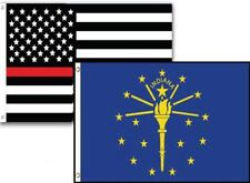 3x5 Usa Thin Red Line Indiana State 2 Pack Flag Wholesale Set Combo 3'x5'