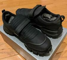 $730 Mens Prada Sport Gabardine Grip Strap Sneakers Black UK 8.5 US 9.5