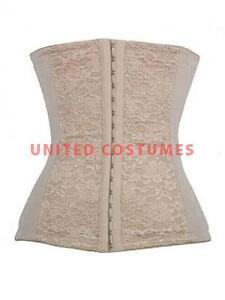 Steel Boned Lace Overlay Waist Cincher - Beige