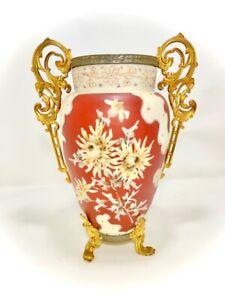 **HUGE CF Monroe MARKED Wavecrest Floral Victorian Glass Vase w Original Tag**