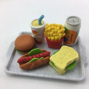 Dollhouse Miniature Barbie Size Hamburger Fries Party Food 7 Pieces Tray