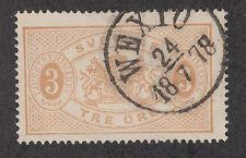 Sweden Sc O1 used 1874 3o bister Coat of Arms Official, perf 14 excellent cancel