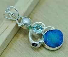 Pearl 925 Silver Pendant; T1120 Geode Druzy Blue Topaz &