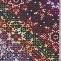 Orange/Rust Multi Starburst Rayon Challis, Fabric By The Yard