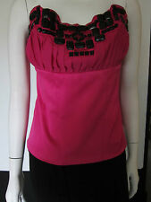 Ladies, bodice top, pink with black beads, size 14 BNWT NEXT