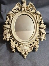 Vintage Cast Iron Oval Framed Mirror Eagle And Leaf Scroll Ornate Good Condition