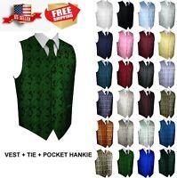 Men's Paisley Formal Tuxedo Vest, Tie & Hankie set. Wedding, Prom, Cruise