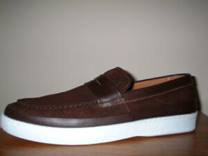 KURT GEIGER BROWN GENUINE SUEDE/LEATHER SLIP ON LOAFERS SIZE 12/46