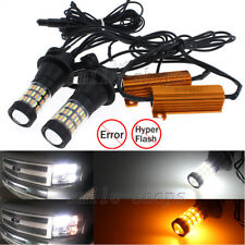 7440 T20 Plug&Play Switchback White/Amber LED Turn Signal Light Bulbs + Resistor