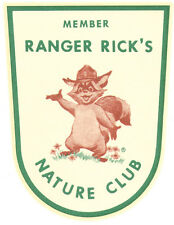 Ranger Rick  Nature Club 1960's  Vintage Looking  Souvenir  Travel Decal Sticker