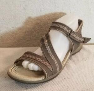 Dr. Scholl's Wmn Sz  9M Dynomite Gray Brown Leather Open Toe Sandals Shoes