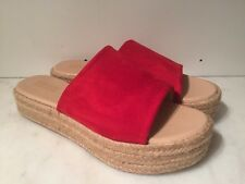 CATHERINE MALANDRINO STUNKY RED ESPADRILLE LOW WEDGE SANDALS SLIDES SHOES 8.5 BN