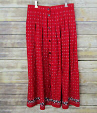 Liz Sport Women's SZ 12 Long Skirt Red Print Front Button Loose Pleats