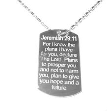 Military Dog Tag Metal Chain Necklace Bible Verse Jeremiah 29:11 Future Plans