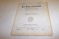 LE PAYS LORRAIN 1933 N° 4 Le chemin de fer de Delma La Céramique ancienne