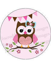 Hoot Owl 19cm Round Edible Icing Cake Topper