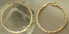 Tolle Creolen Gold 585 - Goldcreolen 3,3 cm Ohrringe geschliffen - Goldohrringe