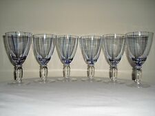 Set of 6 Cobalt Blue Stripe Wine / Goblets / Glasses