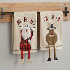 Mud Pie H0 Lodge Christmas Buffalo Check Dangle Leg Towel - 4403012 Choose