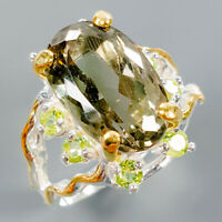 One of a kind Natural Green Amethyst 925 Sterling Silver Ring Size 9/R110741