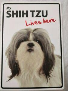 My Shih Tzu Lives Here Plastic Sign