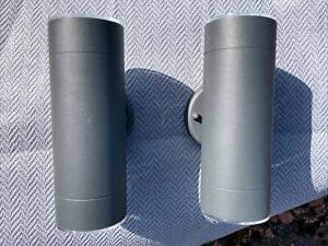 (Blooma) 2 x LED Outdoor Wall Lights Matte Grey LED 760 Lumen IP44.